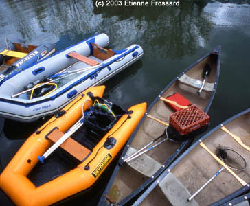 Canoes with Spring Cleaning Equipment