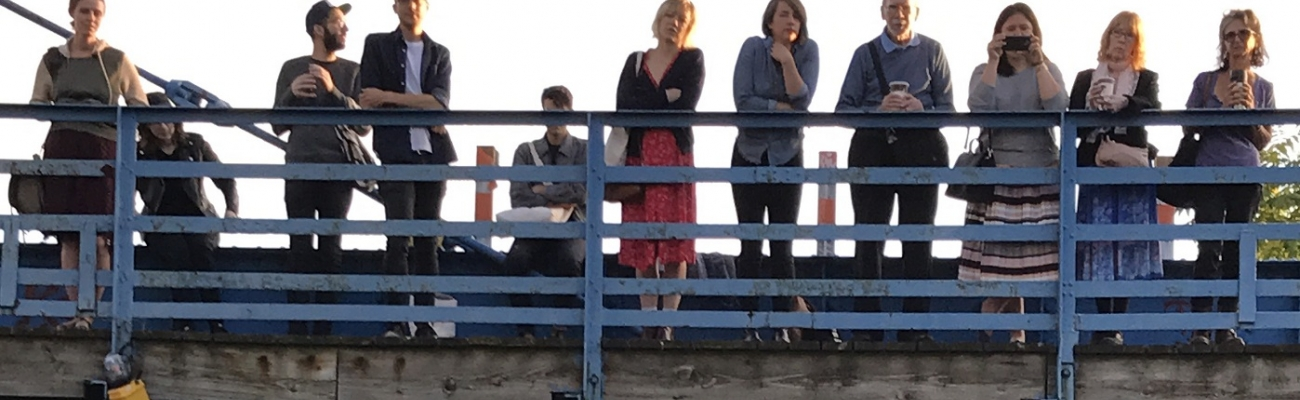 Crowd Gathers For Poetry at Carroll Street Bridge