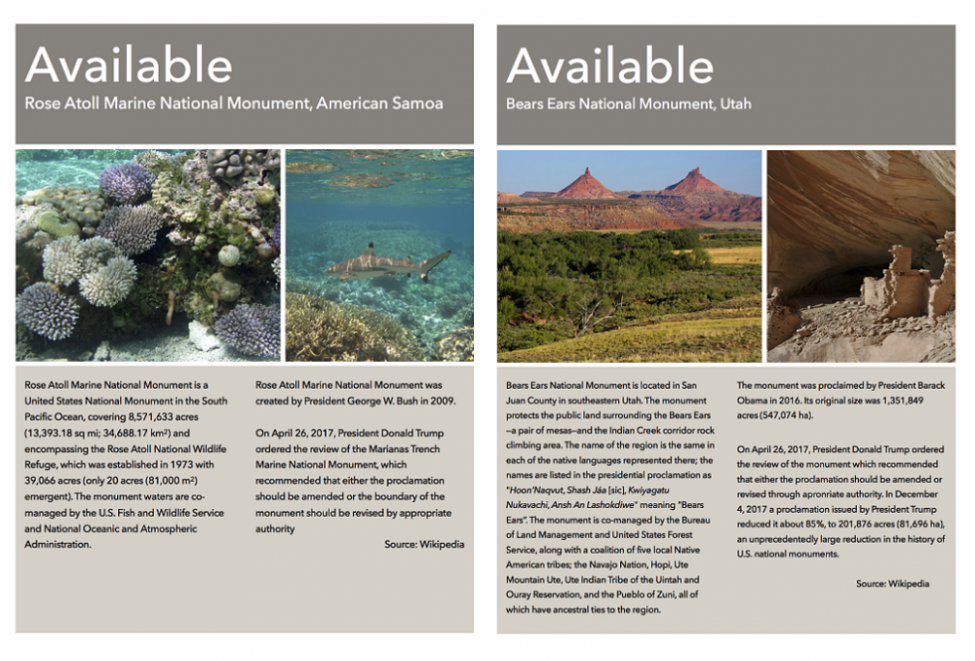 Available: Bears Ears & Rose Atoll Marine National Monuments