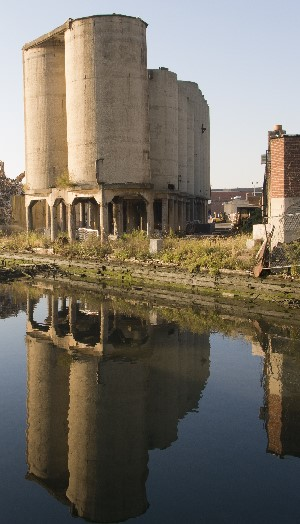 Concrete Silos on the Gowanus Shoreline